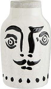 Madam Stoltz Vase Face Steingut schwarz Weiss 16x28 cm