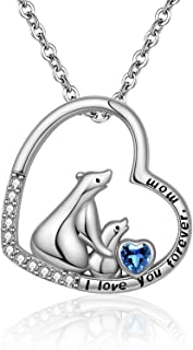 EJALEN Mama Bear Heart Necklace - 925 Sterling Silver I Love You Forever Mom Love Heart Animal Pendant Mother and Daughter...