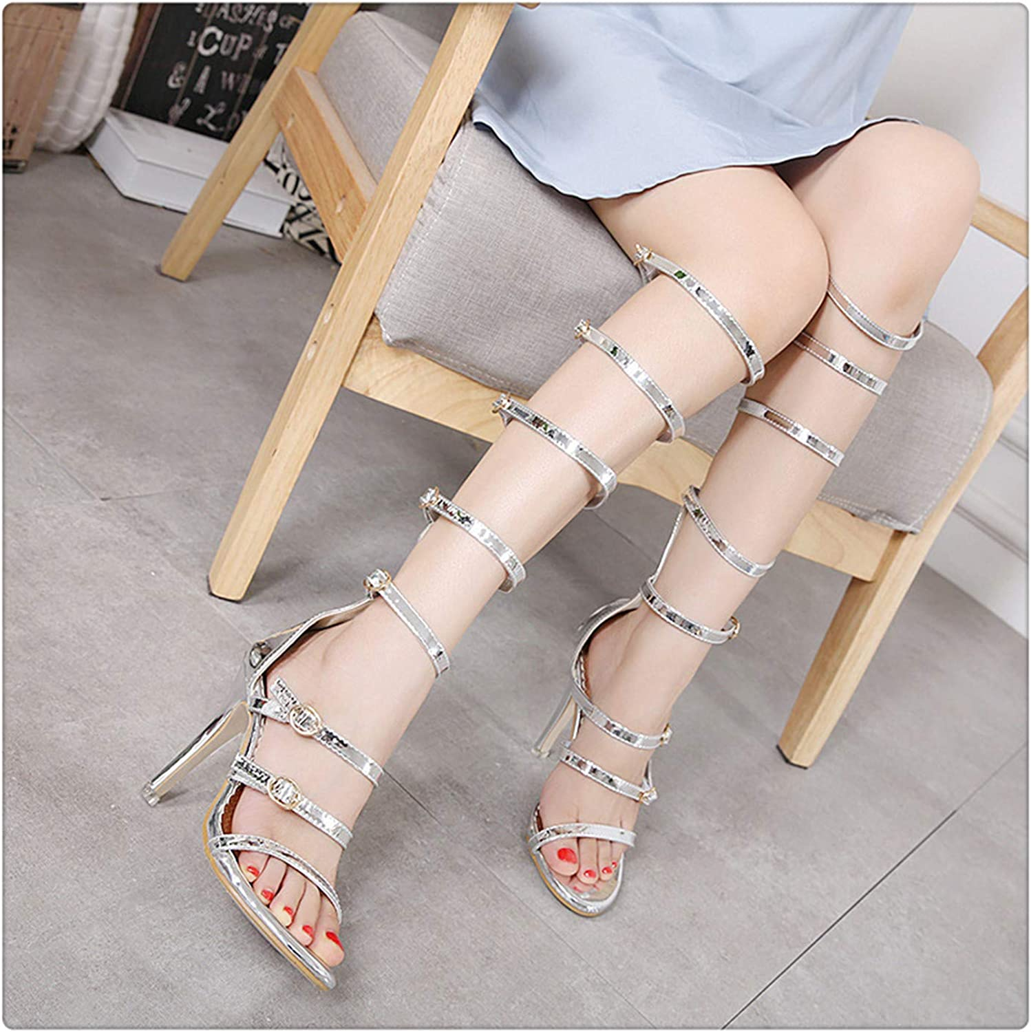 AAKOPE& Fashion Leisure Thin Heels Sandals Women Summer Casual Buckle Strap Ladies shoes Ankle Strap Super High Ankle Strap Sandals Silver 37