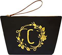 ElegantPark C Initial Monogram Personalized Travel Makeup Cosmetic Bag Wristlet Pouch Gifts Black with Zipper Canvas