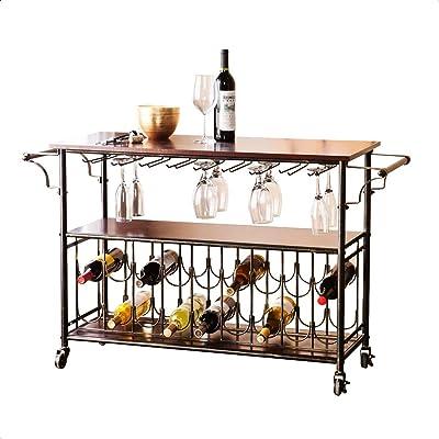 Bar Cart, Bottle Capacity: 18, Stemware Capacity: 18