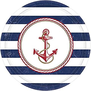 "Amscan Anchors Aweigh Party Plates, 10.5"", 8 Ct."