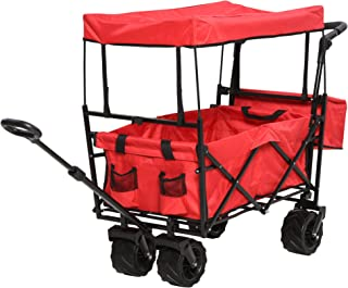 DURHAND Collapsible Folding Utility Cart Wagon with Adjustable Push/Pull Handle, Canopy & All-Terrain Wheels, Red