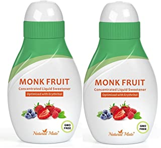 Monk Fruit Concentrated Liquid Sweetener (Optimized with Erythritol) 1.33 FL OZ (37 mL) – 2 Pack