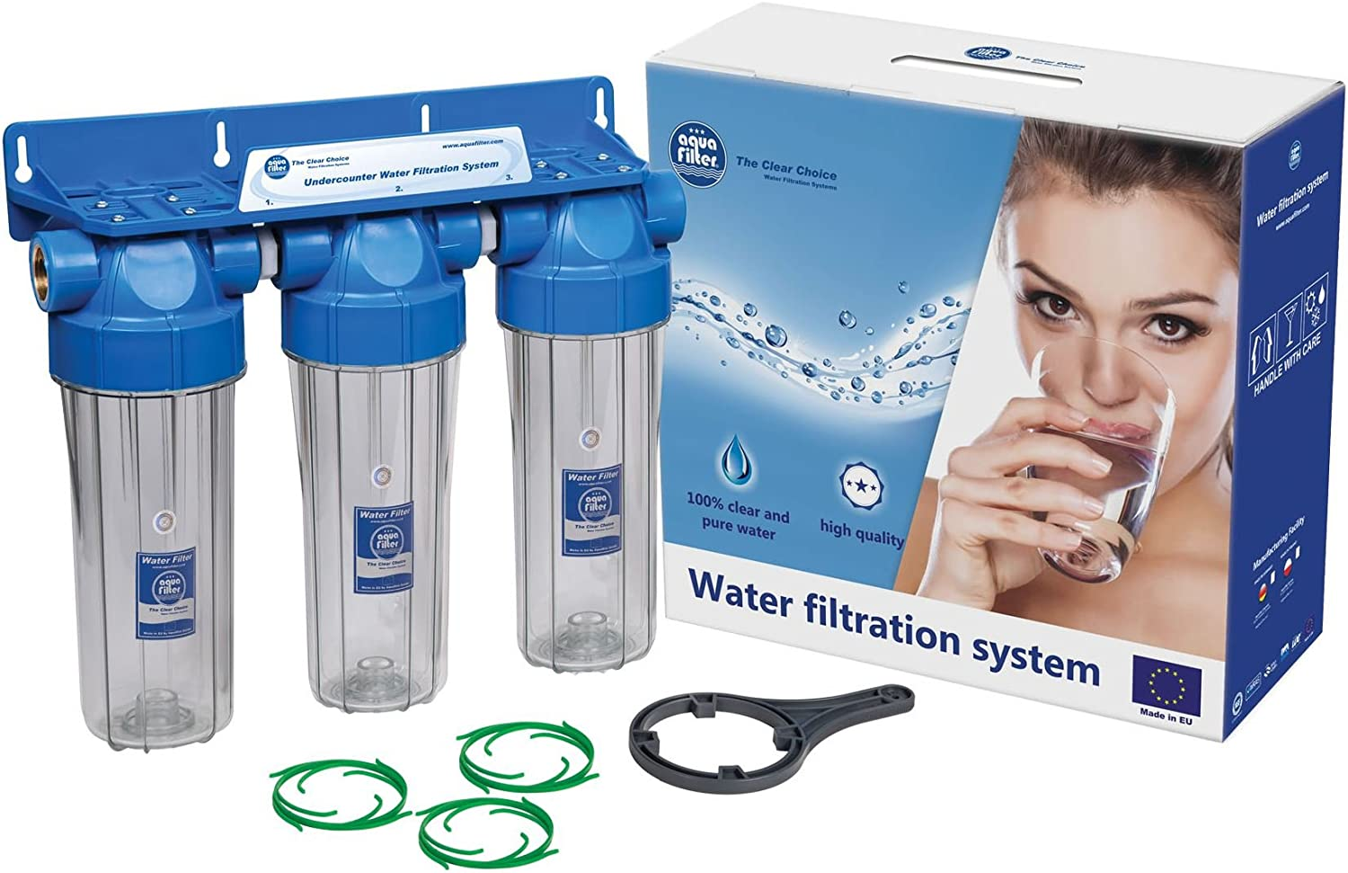 Triple 10  Filter Housing Three Stage Water Filtration System 1 2  Connection