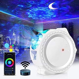 Proyector LED de cielo estrellado,ESHUNQI Luna estrella y Onda de Agua Lámpara de proyector de luz nocturna con Sonido Activado y Modo inalámbrico,Para Fiesta decoraciones de cumpleaños,Niños, Navidad