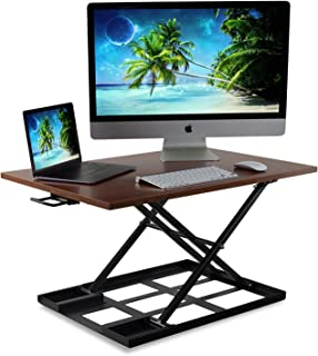 Mount-It! Standing Desk Ergonomic Height Adjustable Sit Stand Desk, 32x22 Inch Preassembled Stand-Up Desk Converter, Holds up to 20 Pounds, Large Surface, Brown