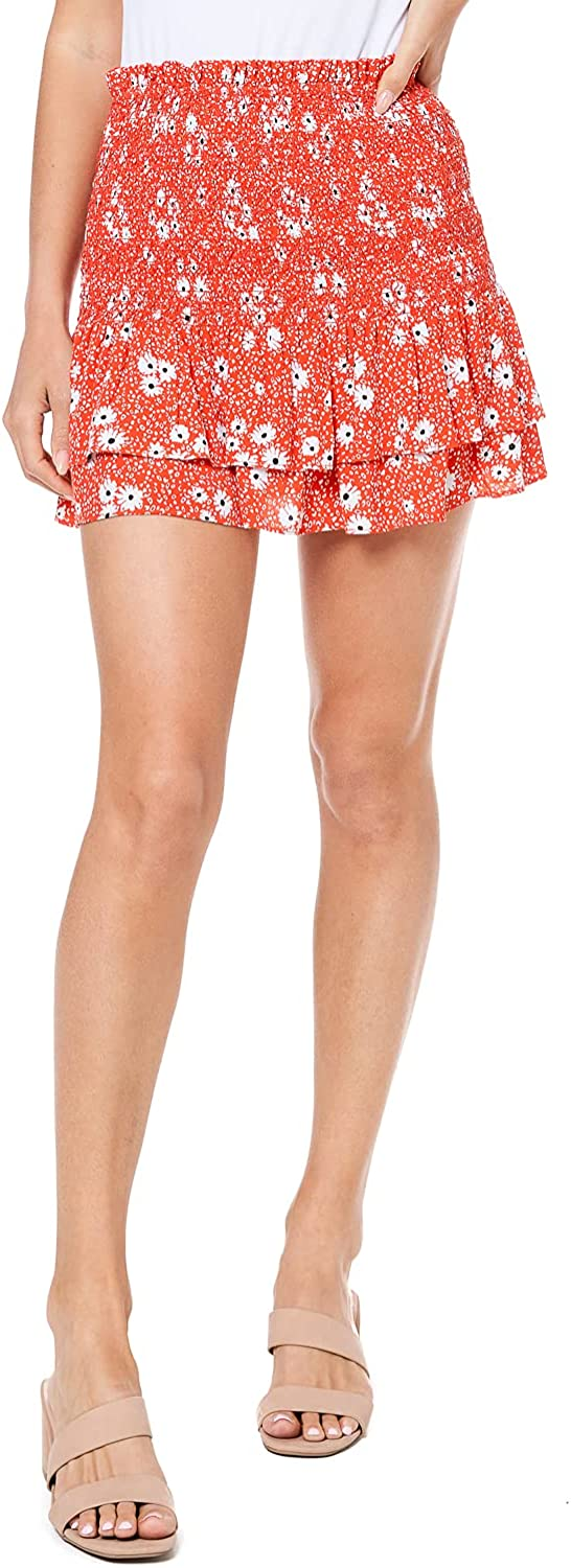 ELODIE Women's Floral Print Mini Skirt Smocked and Tiered with Drawstring