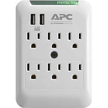APC Extensor de Enchufe de Pared, Protector contra sobretensiones con Puertos USB, PE6WU2, (6) Toma de Enchufe múltiple AC, 540 Joule Protección contra sobretensiones