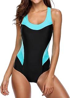beautyin Women's Pro One Piece Athletic Bathing Suit Color Block Swimsuit