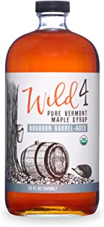Wild4 Organic Maple Syrup, Bourbon Barrel Aged Maple Syrup from Vermont, Gluten Free, Great for Breakfast & Pancakes (32oz.), 946 mL