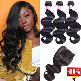 10A Brazilian Body Wave Virgin Hair 3 Bundles With Closure Three Part Unprocessed 100% Human Hair Bundles With Lace Closure (12 14 16+12 Three part closure)