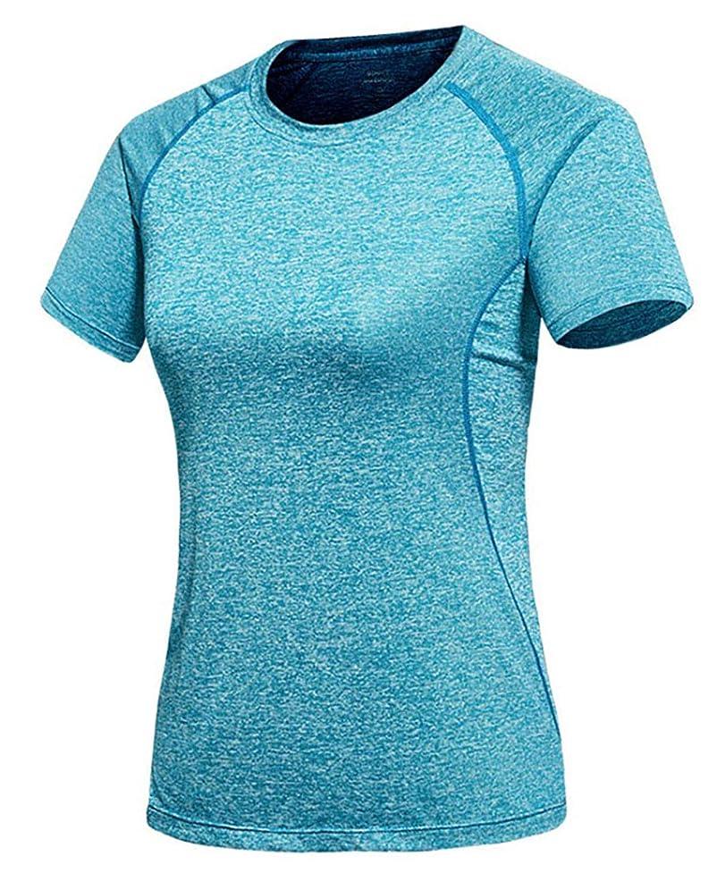オーナー要旨裸[ジェームズ?スクエア] レディース 速乾 ドライ Tシャツ スポーツ トレーニング シャツ 半袖