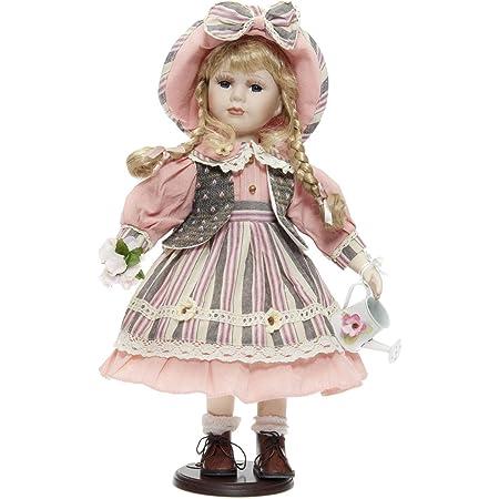 rf collection Poup/ée en porcelaine avec robe et ours en peluche Cr/ème 55 cm