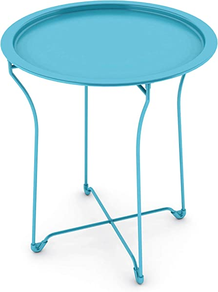 Atlantic UrbSPACE Metal Side Table Stylish Folding Tray Table Sturdy Steel Construction With Wear Resistant Powder Coating PN38436133 In Capri Breeze