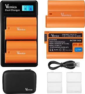 Vemico EN-EL15 - Cargador de batería para cámara Nikon D750 D7500 D850 D810 D810A D800 D800E D7200 D500 D610 D600 (2 baterías de 2100 mAh)