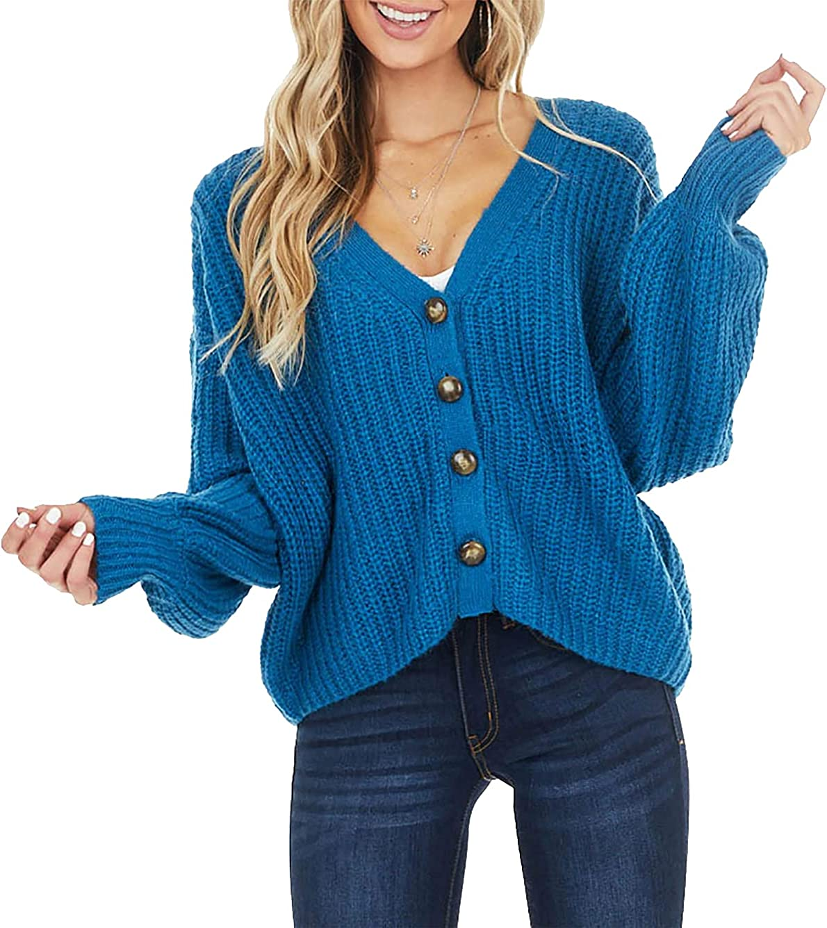 LAMISSCHE Womens Long Sleeve Button Down Cardigan Sweater Casual Open Front V Neck Knit Coat Off Shoulder Baggy Crop Top