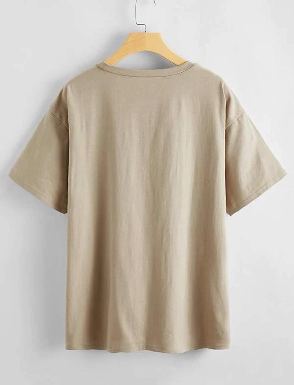 SAFRISIOR Women's Letter Graphic Print Oversize T Shirt Round Neck Drop Shoulder Longline Short Sleeve Tee Shirt Tops