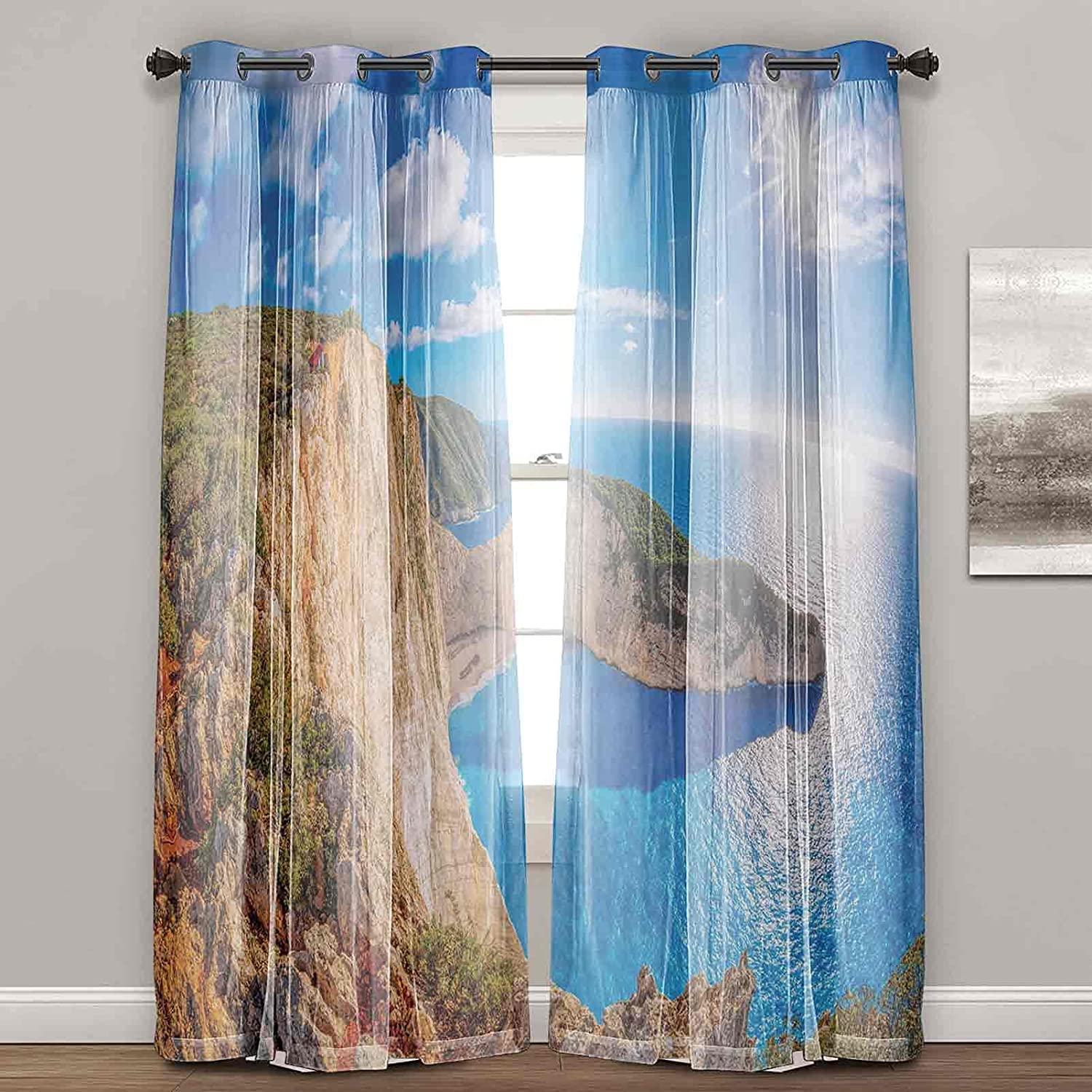 Greece Curtains Drapes Vivid low-pricing Illustration We OFFer at cheap prices Su Beach of Navagio