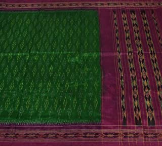 Vintage Indian Saree 100% Pure Silk Hand Woven Ikat Patola Sari Fabric Green
