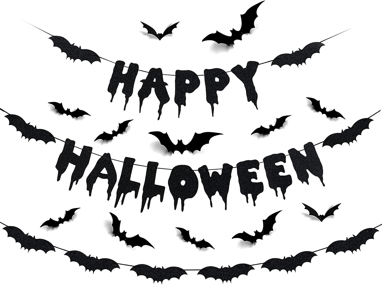 Happy Halloween Banner Bat Garland Black Glitter and 12Pcs Bat Wall Decals- Flying Bats Halloween,Halloween Party Decorations,Halloween Wall Decorations,Bat Party Decorations,Happy Halloween Decorations,Bat Decorations