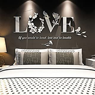 Autocollant mural 3D Leaf Love en vinyle, 3D Leaf Love Art Decal 3D amovible Leaf Love Art Miroir acrylique DIY Décoration...
