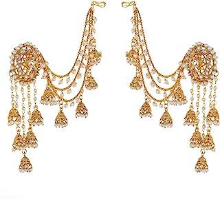 PRITA 18K Gold Plated White Polki & Bahubali Stylish Devsena Pearl Jhumka Earrings For Women