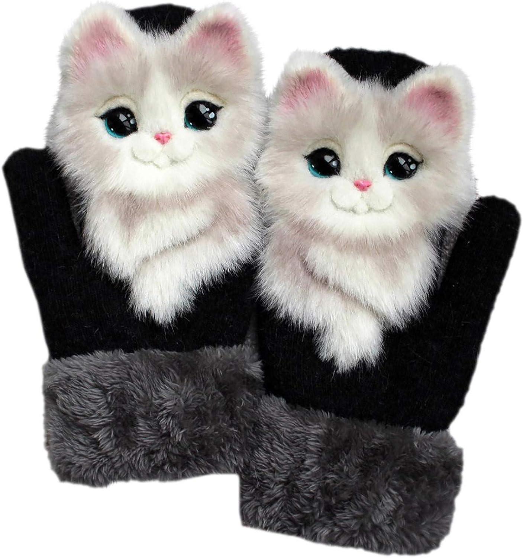 Toms Winter Gloves for Women Girls, Cute 3D Animal Gloves Plush Knitted Mittens