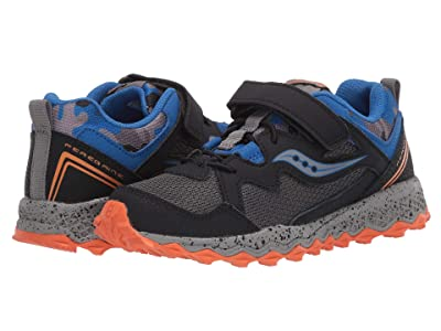 Saucony Kids S-Peregrine Shield 2.0 A/C (Little Kid/Big Kid) (Black/Grey/Blue) Boys Shoes