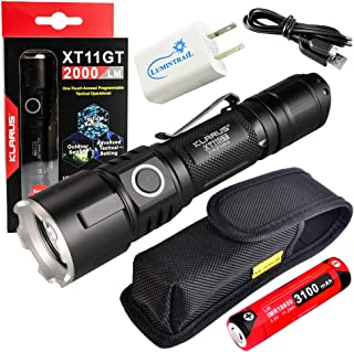 Klarus XT11GT Rechargeable Flashlight 2000 Lumen LED Tactical Light Bundle with Lumintrail USB Wall Adapter
