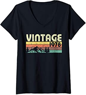 Womens Retro Vintage 1978 Graphics 41st Birthday Gift 41 years old V-Neck T-Shirt