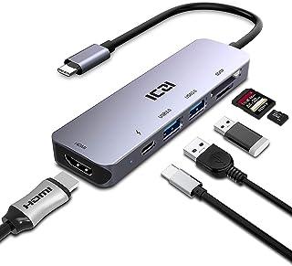 ICZI Hub USB C Thunderbolt 3 6 en 1 de Aluminio Adaptador USB Tipo C a HDMI 4K Dex 2 USB 3.0 Lector de Tarjetas SD TF USB-C Power Delivery Dock Station para Macbook Pro Surface Pro 7 etc