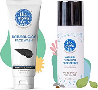 The Moms Co. Natural Clay Face Wash (100 ml) with Moroccan Lava Clay & Kaolin And The Moms Co. Face Cream, 50 g