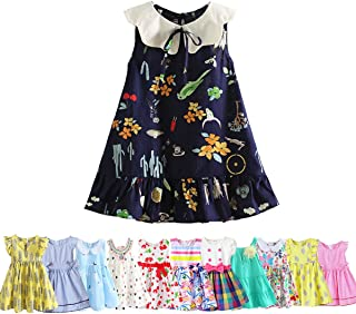 Abalaco Girls Kids 100% Cotton Summer Printed Sundress Floral Casual Toddler Tutu Dress