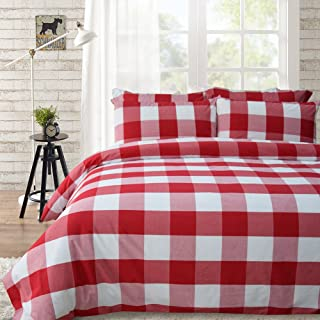 Lausonhouse Cotton Duvet Cover Set,100% Cotton Yarn Dyed Buffalo Check Duvet Cover Set,Plaid Bedding Set - Queen - Red