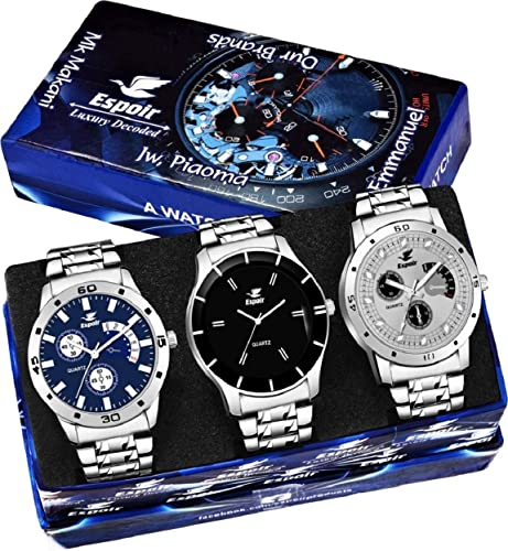 Analogue Chronograph Not Working Combo Pack of 3 Watches Stainless Steel Multicolor Dial for Boy s Men s Watch Combo 109Grey Bahu Espoir