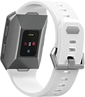 Josi Minea [Fitbit Ionic] Rugged Silicone Bracelet with Adjustable Clasp - Hard Shell Strap Band Snap-On Watchband for Fitbit Ionic Smart Fitness Watch [ White ]