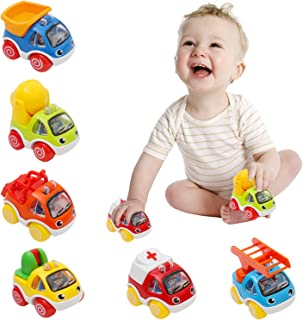 Pull Back Cars for Kids Friction Powered Car Toy Early Educational Toddlers Baby Toys Push & Go Engineering Construction Vehicles for 1 2 3 Years Old Boys - 6 Pieces