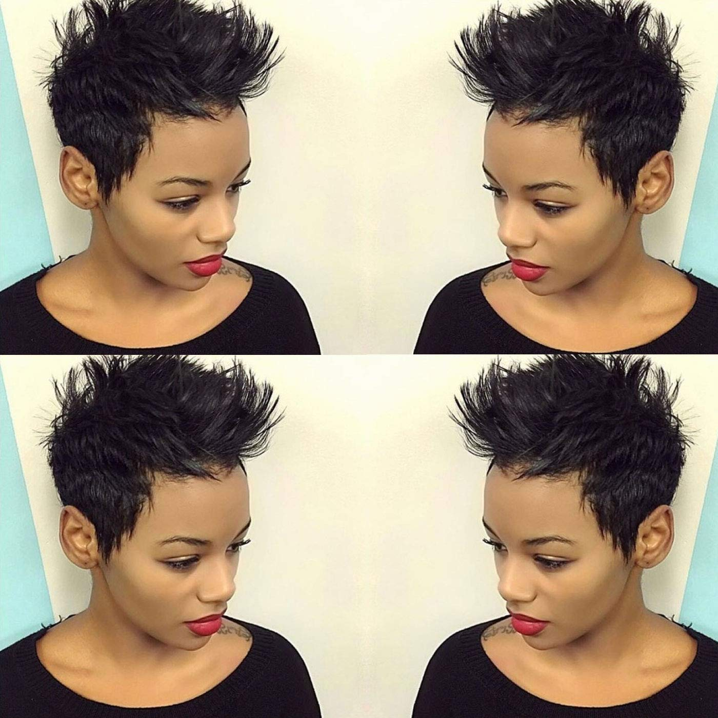 Buy BeiSD Short Black Pixie Cut Wigs For Women Natural Synthetic ...