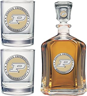 Heritage Metalwork Purdue University Decanter and Whiskey Rock Glasses Set