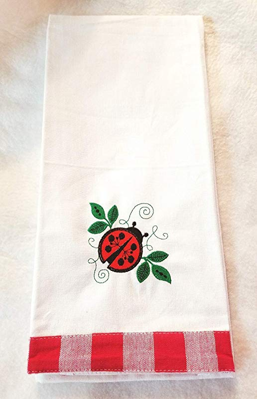 Ladybug Embroidered Kitchen Towel