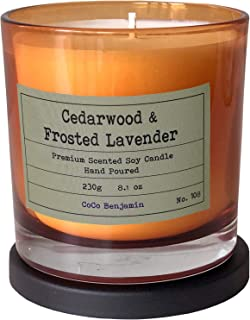 Soy Candle, Highly Scented, Hand Poured, 8.1 oz (Cedarwood & Frosted Lavender)