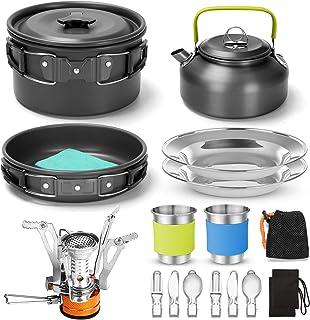 کیت آشپزی ظروف آشپزی کمپینگ Odoland با مینی اجاق گاز ، قابلمه سبک قابلمه قابلمه با 2 فنجان ، کیت قاشق چاقوی چاقوی مخصوص کوله پشتی ، پیاده روی در کمپینگ در فضای باز و پیک نیک