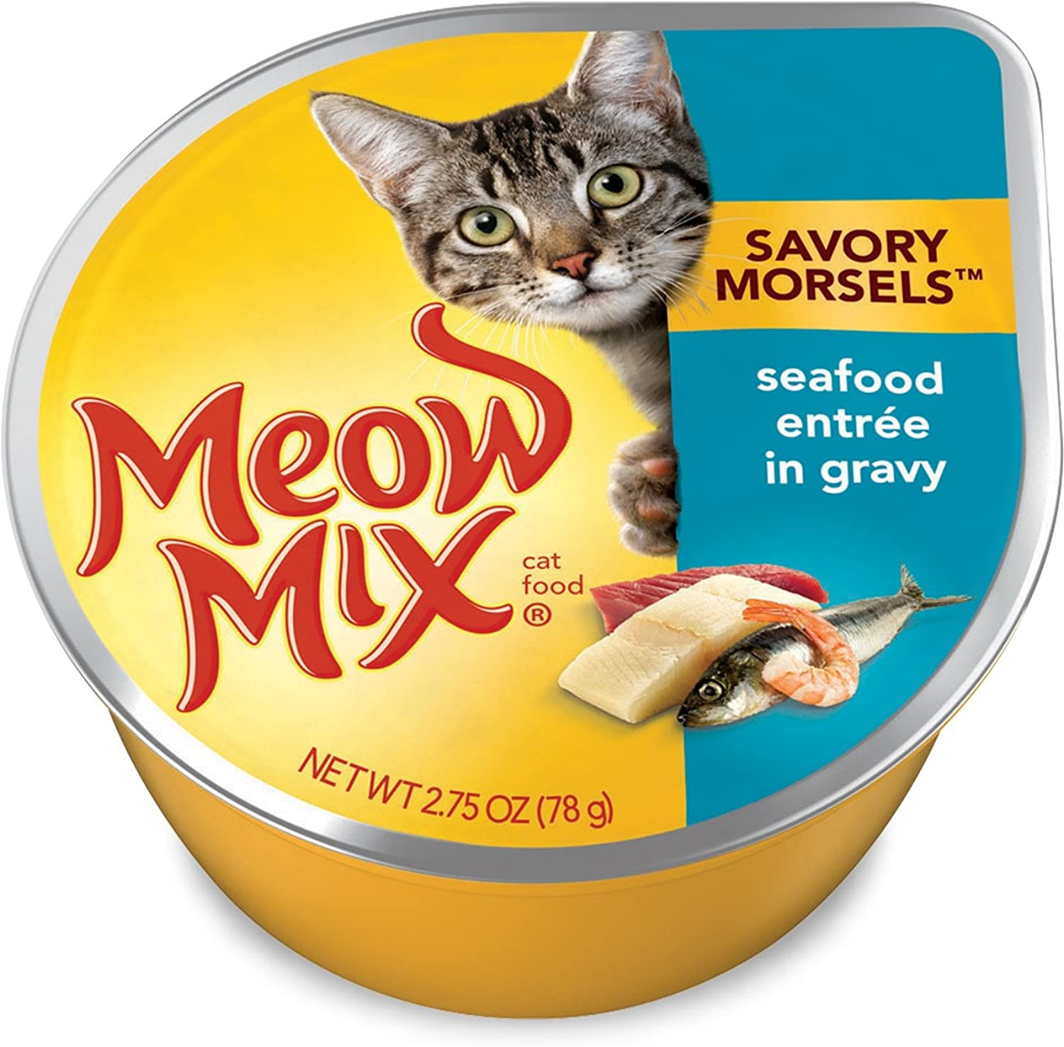 Meow Mix Savory Morsels Seafood Entrée Wet Cat Food, 2.75 Oz (Pack of 12)