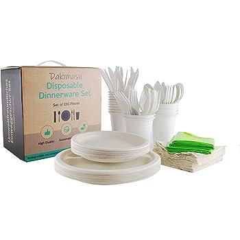 Juego de vajilla desechable de 210 piezas, compuesto biodegradable ...