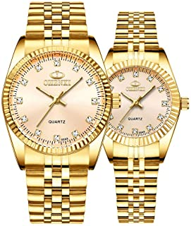 Couple Watches Swiss Brand Golden Watch Men Women Stainless Steel Waterproof Quartz Watch