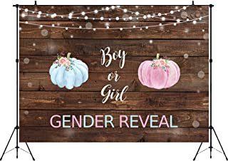 Aperturee Boy or Girl Gender Reveal Backdrop, 7x5ft Rustic Wood Blue or Pink Watercolor Pumpkin Photograph Background Baby Shower Party Decorations Banner Photo Booth Props Studio Banner