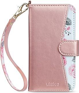 6c392f7df5d0 ULAK iPhone 8 Plus Case, iPhone 7 Plus Wallet Case, Rose Gold Floral PU