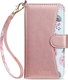 ULAK iPhone 8 Plus Case, iPhone 7 Plus Wallet Case, Floral PU Leather Wallet Case with Card Holders Kickstand Hand Strap Shockproof Protective Cover for Apple iPhone 7 Plus/8 Plus 5.5 Inch, Rose Gold