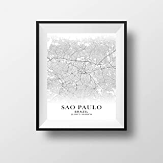 Sao Paulo, Brazil Minimalist Map - Poster Print Artwork - Professional Wall Art Merchandise - Coordinates, Black and White